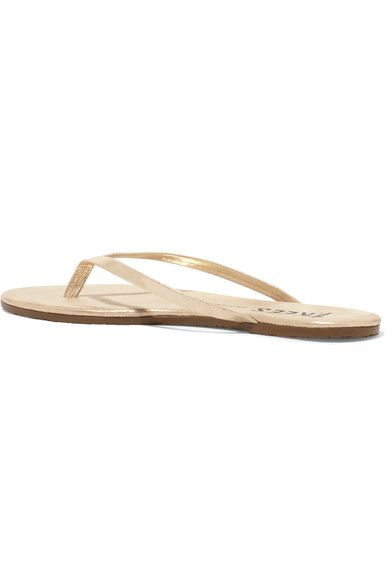 32abb389d TKEES - Lily Metallic Suede Flip Flops - Gold - US
