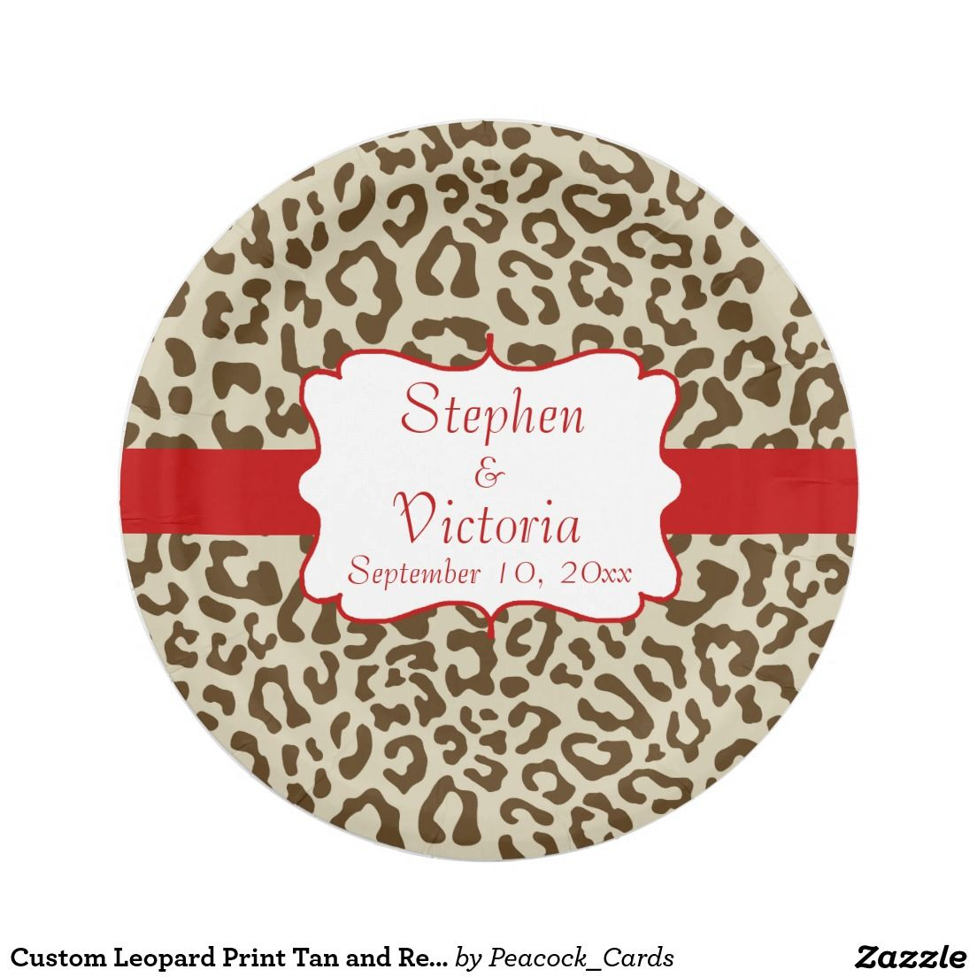 Custom Leopard Print Tan and Red Paper Plates  sc 1 st  Pinterest & Custom Leopard Print Tan and Red Paper Plates | ??????? | Pinterest ...