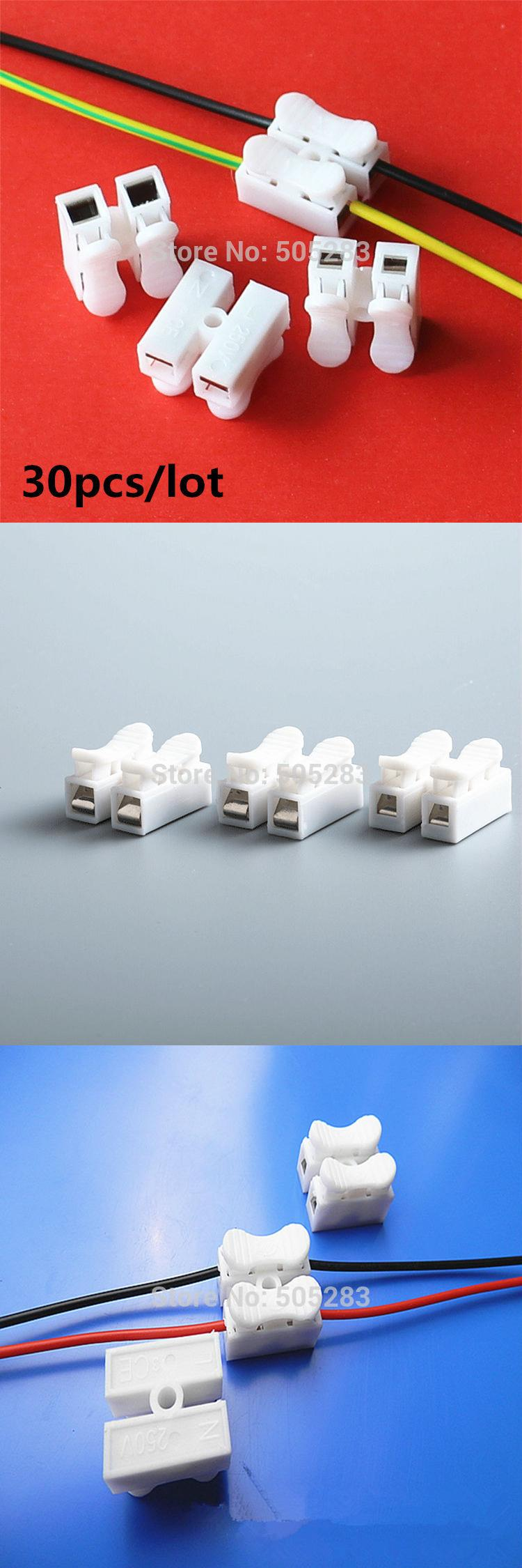 Visit to Buy] 30x 2P Spring Wire Quick Connector Splice With No ...
