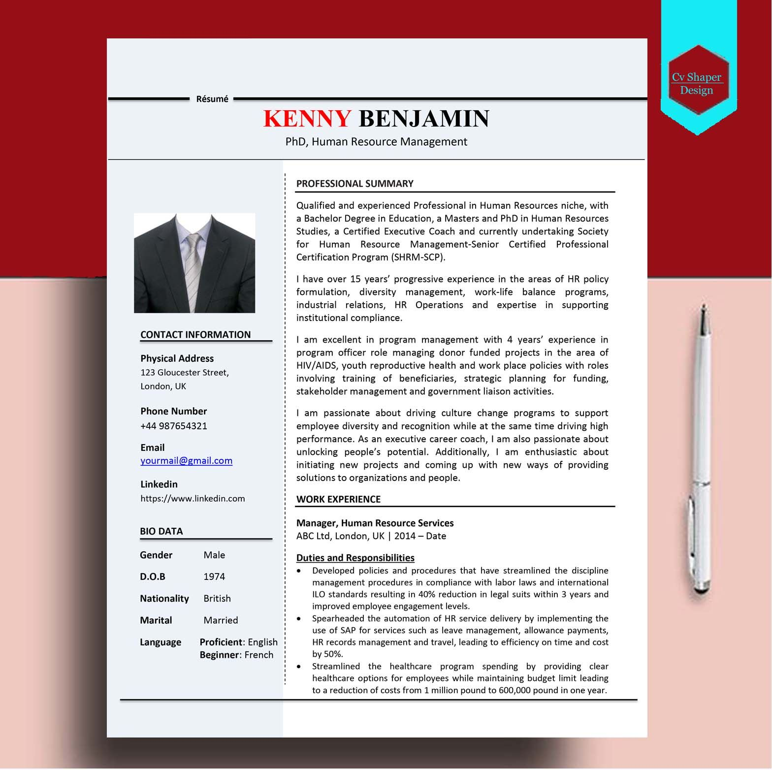 Download this human resource manager cv sample and edit