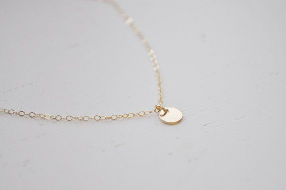 Tiny gold dot necklace gold filled disc small circle round charm tiny gold dot necklace with gold filled small circle disc by aden and claire 2300 aloadofball Image collections