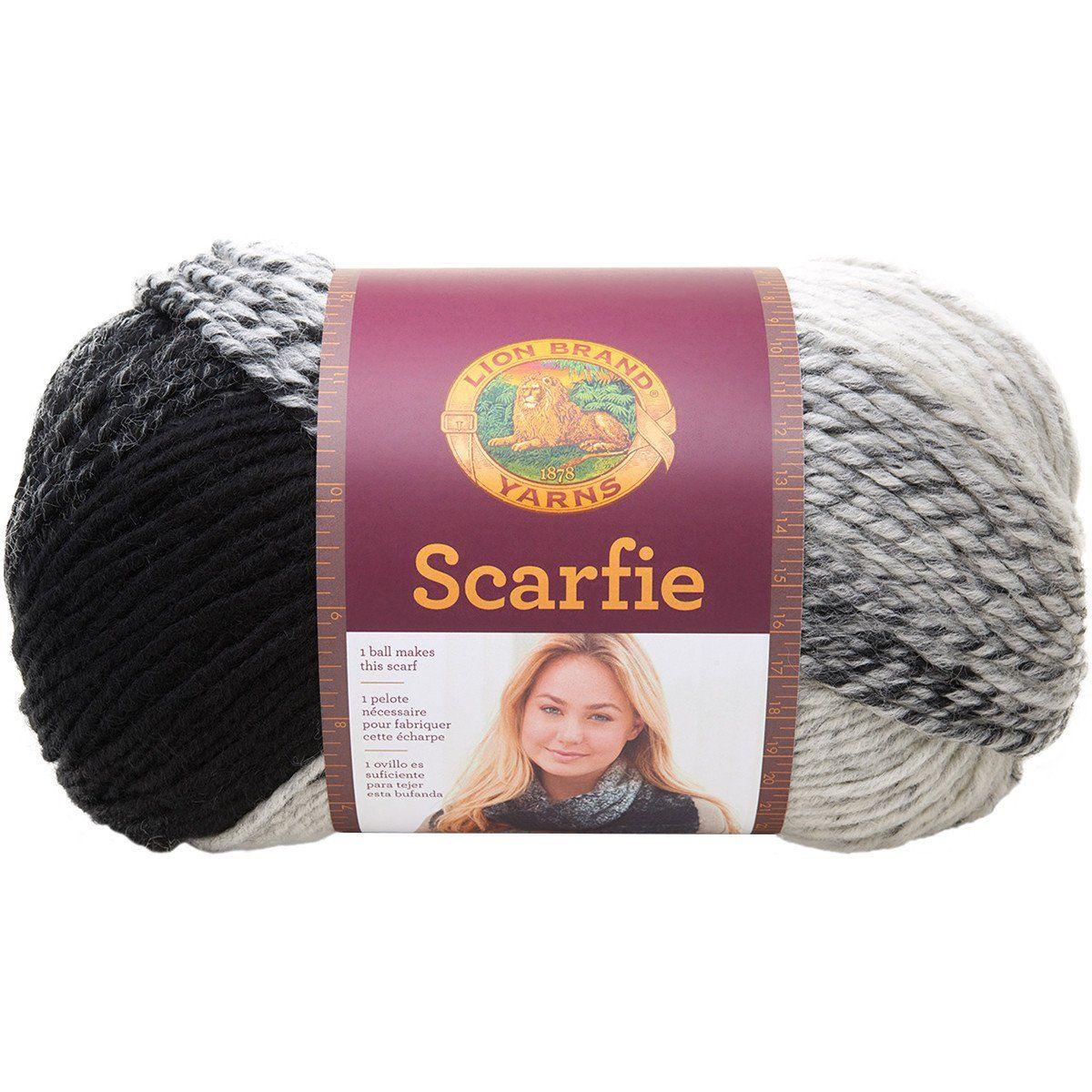 Lion Brand® Scarfie Yarn Cream, Black | Garn