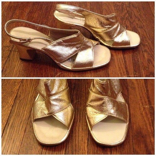 vintage gold shoes, size 6