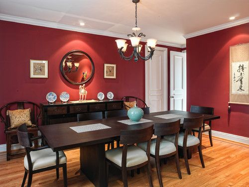 Red Walls Dark Furniture White Cushions Dining Room Small