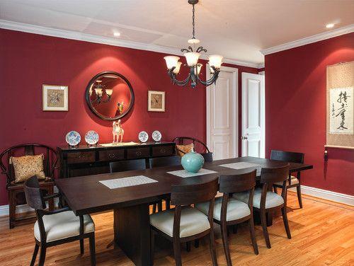 Astonishing Red Walls Dark Furniture White Cushions Dining Room Download Free Architecture Designs Saprecsunscenecom