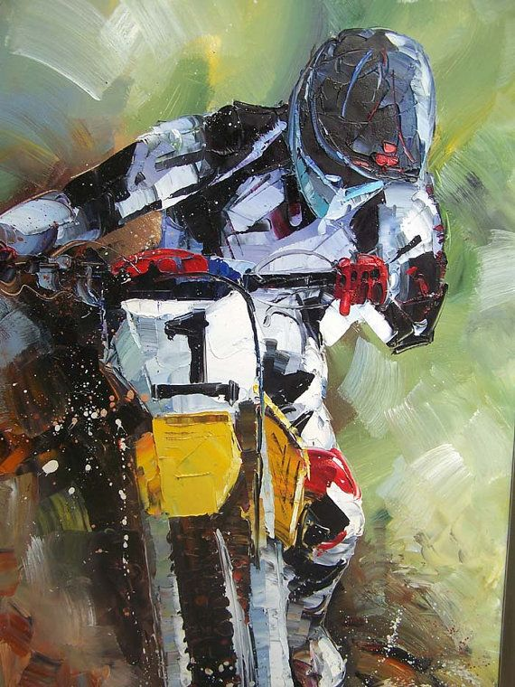 Riding Motorcycles Abstract Oil Paintings,Original Abstract Knife  Painting,knife Painting Impasto Oil On Canvas,Custom Home Art Decoration On  Etsy