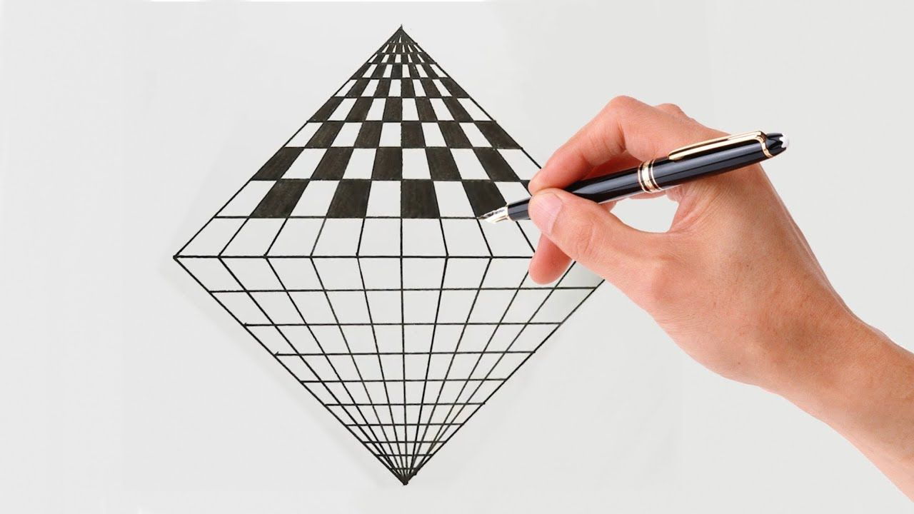 How To Draw Geometric Square ! 3d Drawing Art ! Optical ...