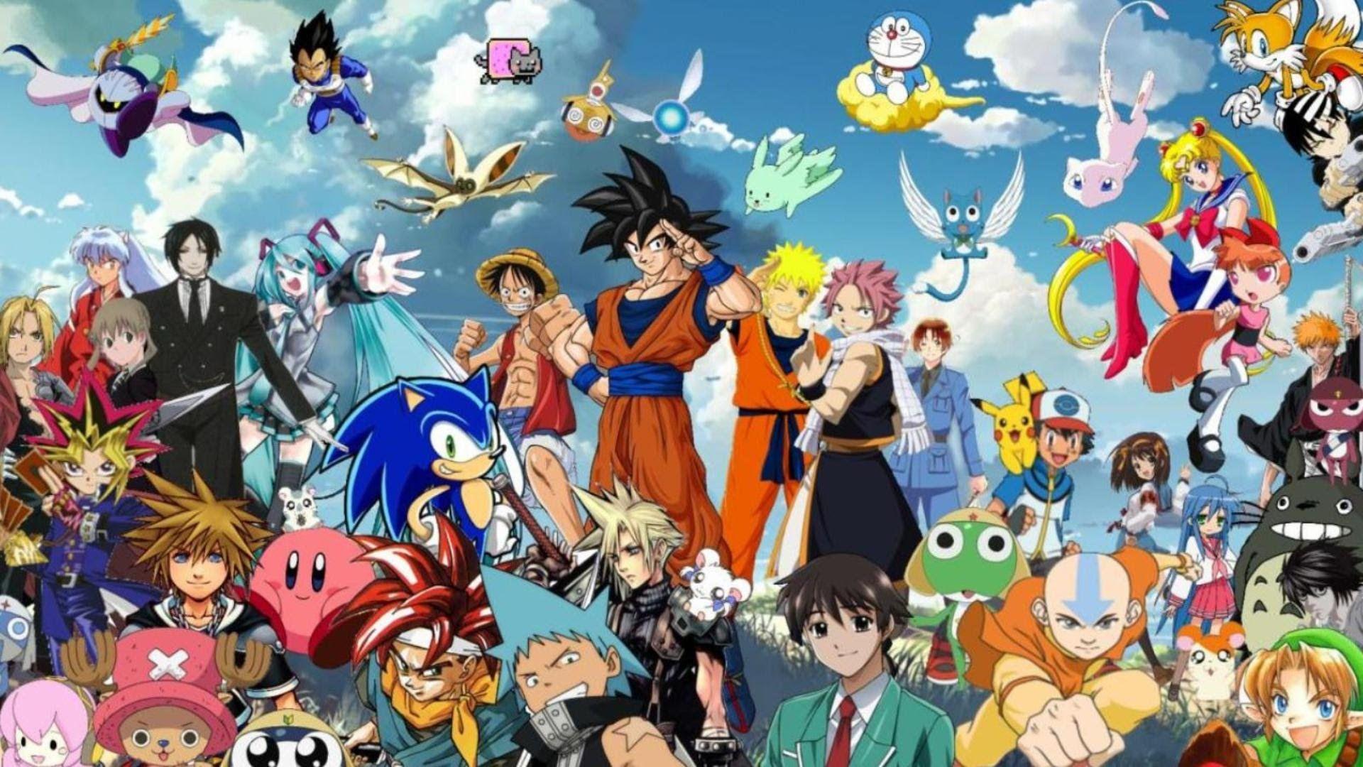 Strong Anime Characters Goku Aang Natsu Luffy Sora Vegeta