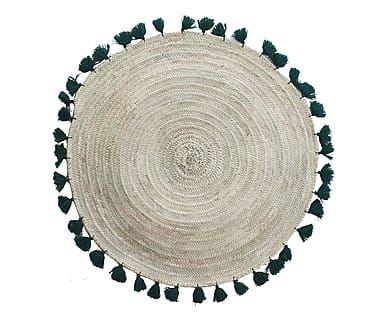 Tappeto rotondo con nappe in fibra vegetale naturale/verde