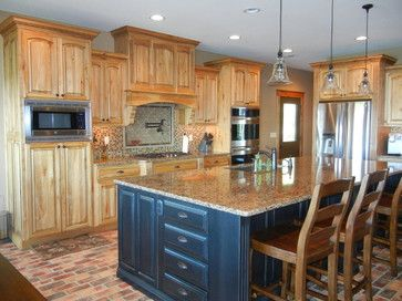 Hickory Cabinets With Black Island Hickory Cabinets Hickory Kitchen Cabinets Small Kitchen Cabinets