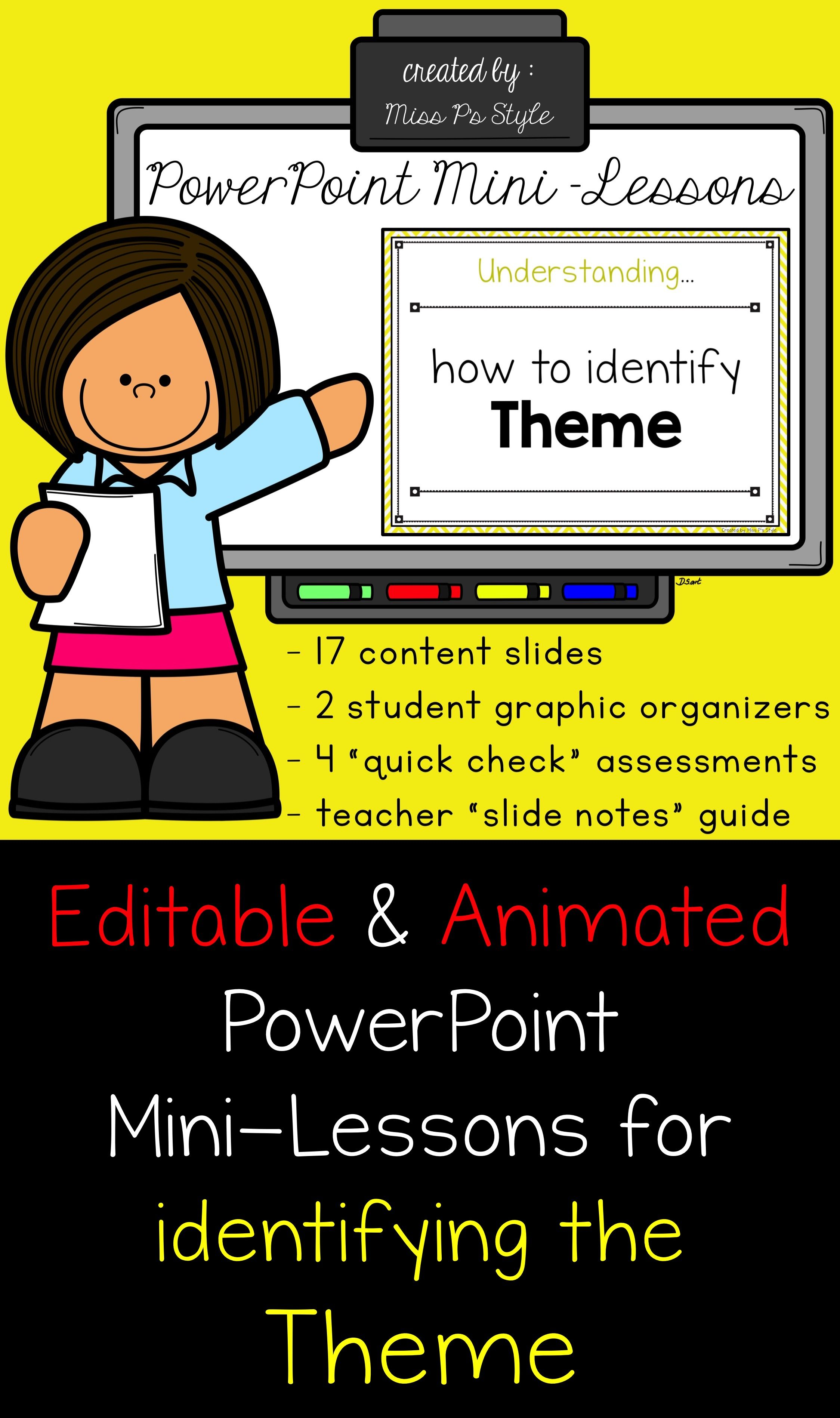 Powerpoint Mini Lessons And Extras For Identifying Theme Powerpoint Digital Minilessons Reading Elementary Reading Elementary Resources Powerpoint Lesson Reading mini lessons grade