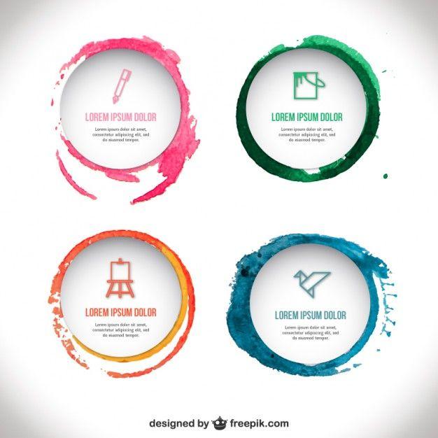 Template emblemas Aguarela | Logos, Template and Infographics