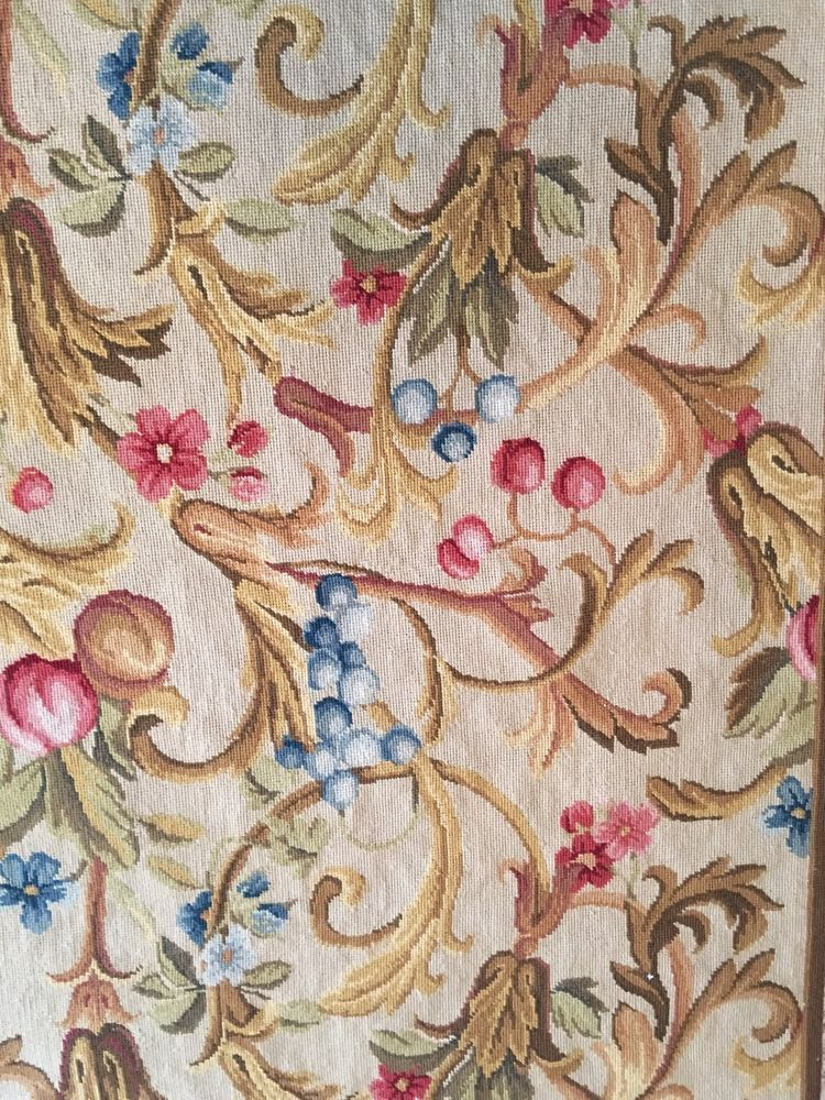 vintage needlepoint french floral aubusson rug runner wall hanging 126x33 great - Aubusson Rugs