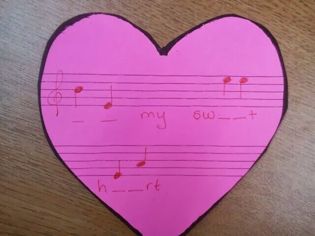in my music class music valentine messages write students names with music notes