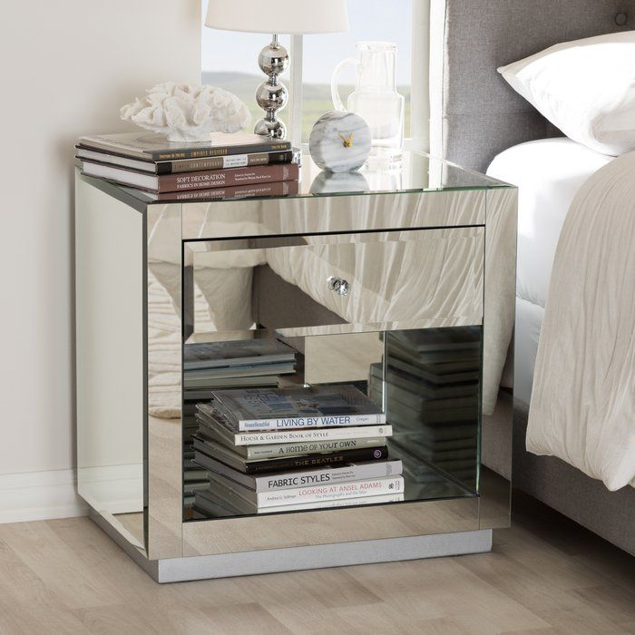 Kaplan 1 Drawer Nightstand Mirrored Nightstand Shelf Nightstand Nightstand Set Of 2