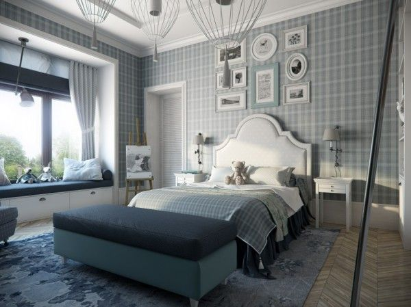 Plaid Bedroom Wallpaper Cool Calm Sophisticated In Grey As The