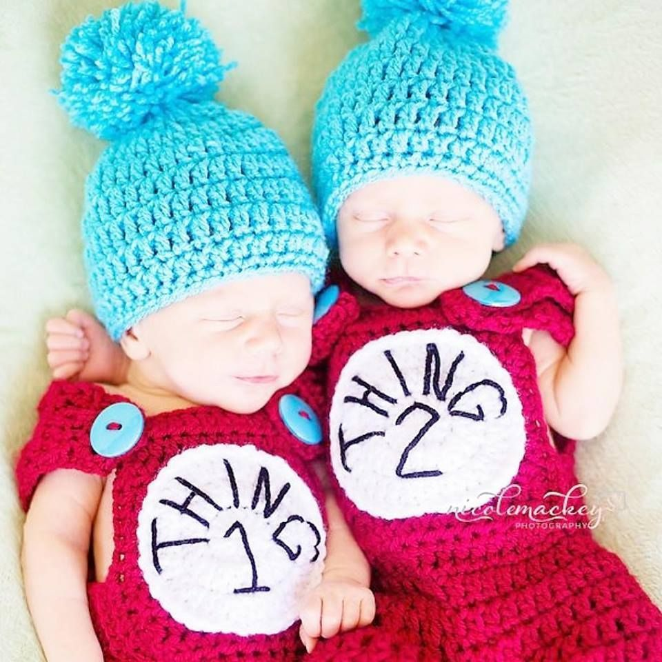 Crochet Baby Thing 1 Thing 2 Pants Overalls Hat Beanie Set Dr. Seuss ...