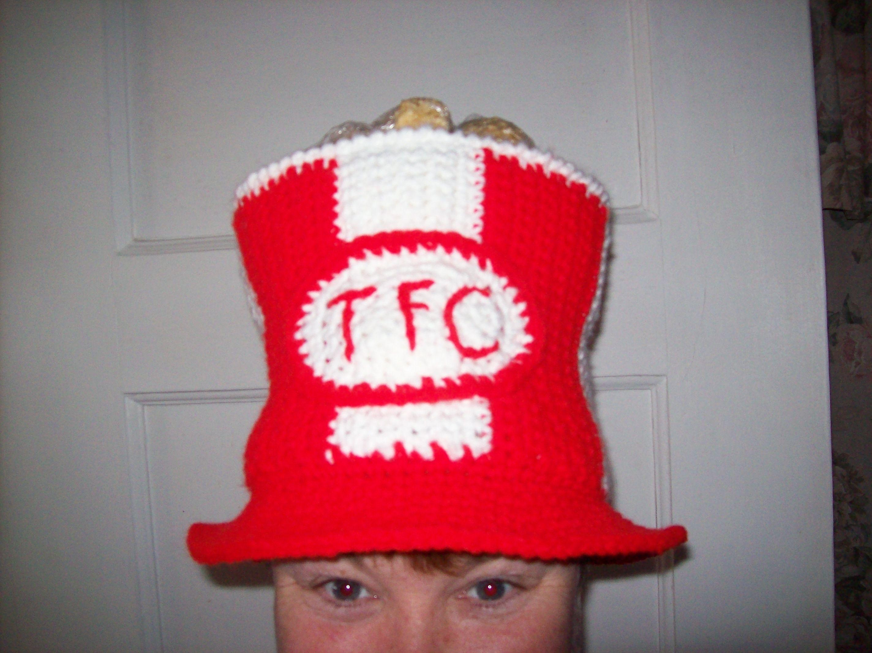 Crochet  Finger lickin  good ..... silly little chicken bucket hat ... 67ec37345a8