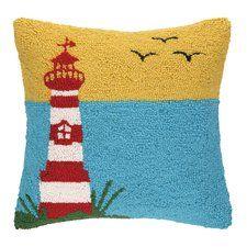 Lighthouse with Birds Hook Wool Throw Pillow