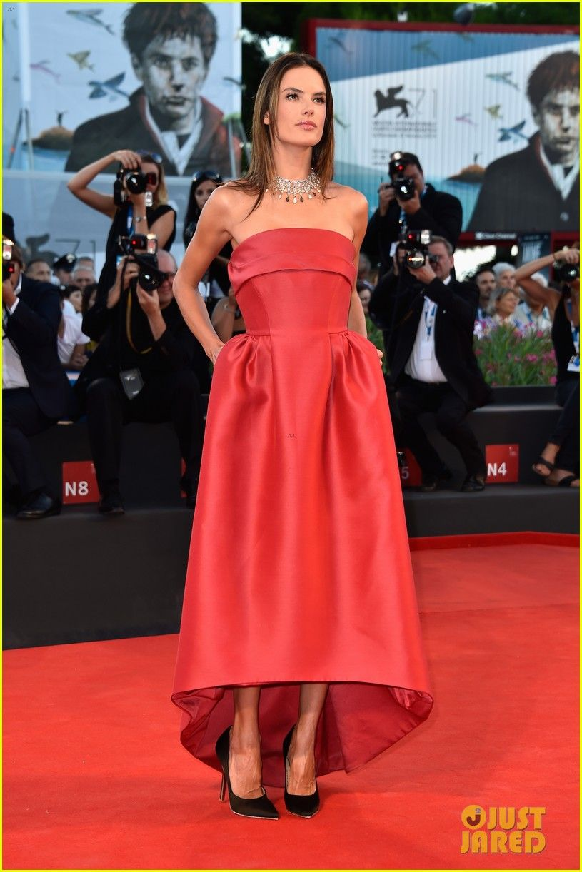 Alessandra ambrosio is a glowing beauty in her strapless dress while
