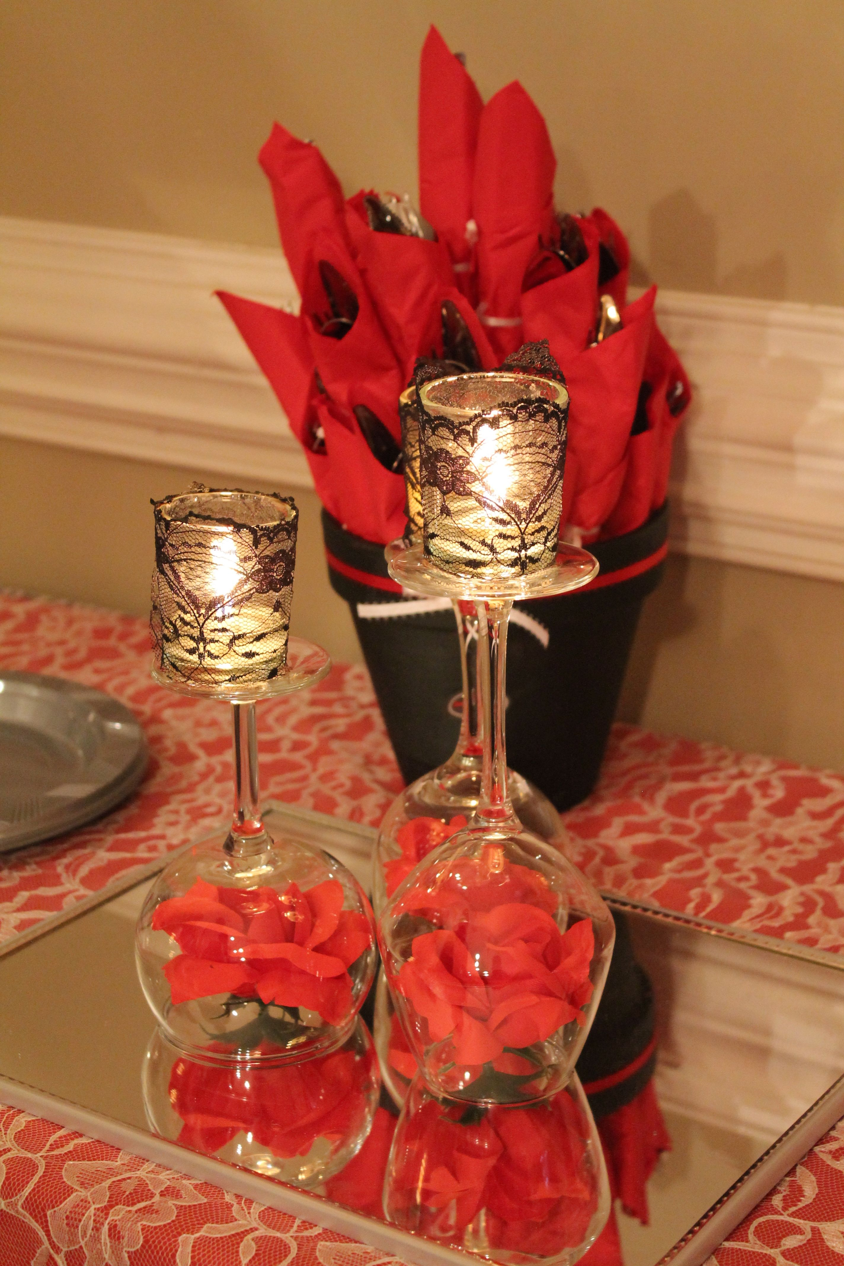 Centerpieces for tables made of upside down wine glasses