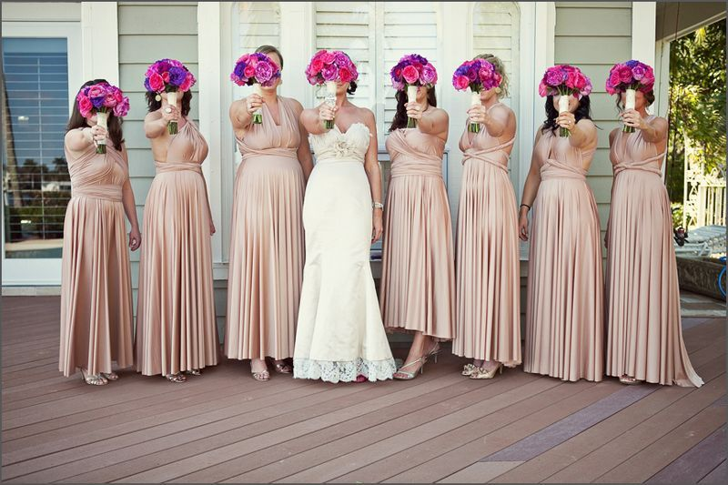 Set of 8 Champagne Convertible Dress, Long