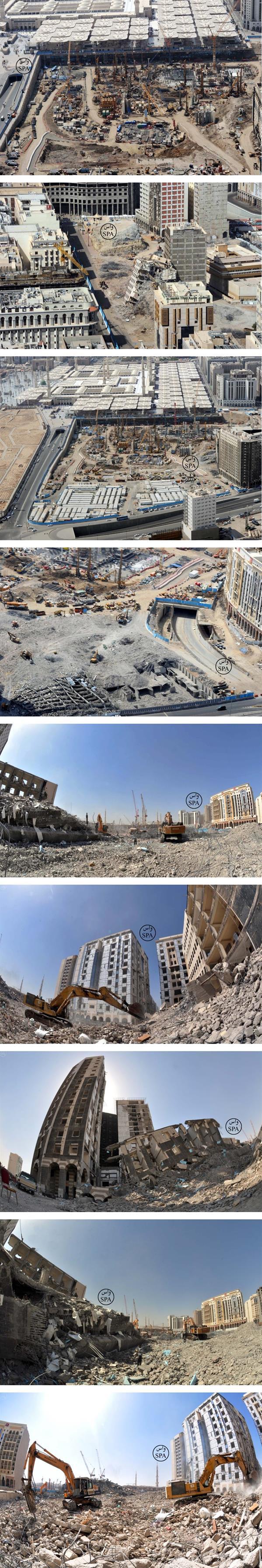 صور إزالة العقارات المحيطة بالمسجد النبوي لإتمام مشروع التوسعة Mosque Madina City