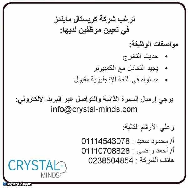 ترغب شركة كريستال مايندز في تعيين موظفين لديها في قسم النشر المكتبي الذي يهتم بعمل تنسيقات وتعديلات علي الكتالوجات والاعلانات والكتيب Math Mindfulness Crystals
