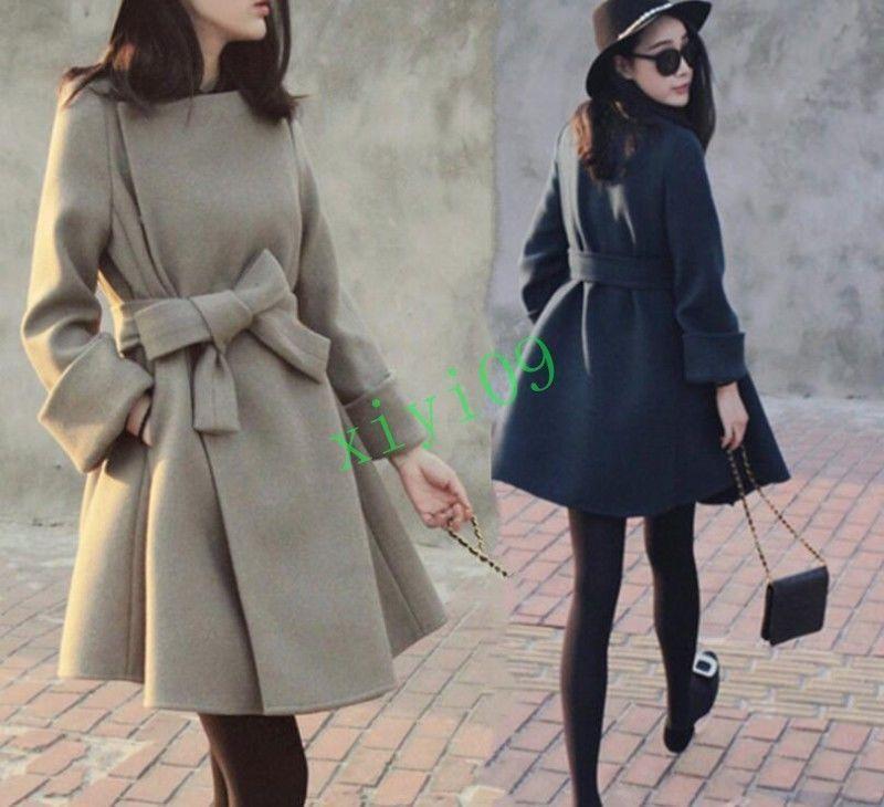 c93f2389079 Korean Womens A-Line Slim Fit Belt Winter Peacoat Windbreaker Dust Overcoat  Long