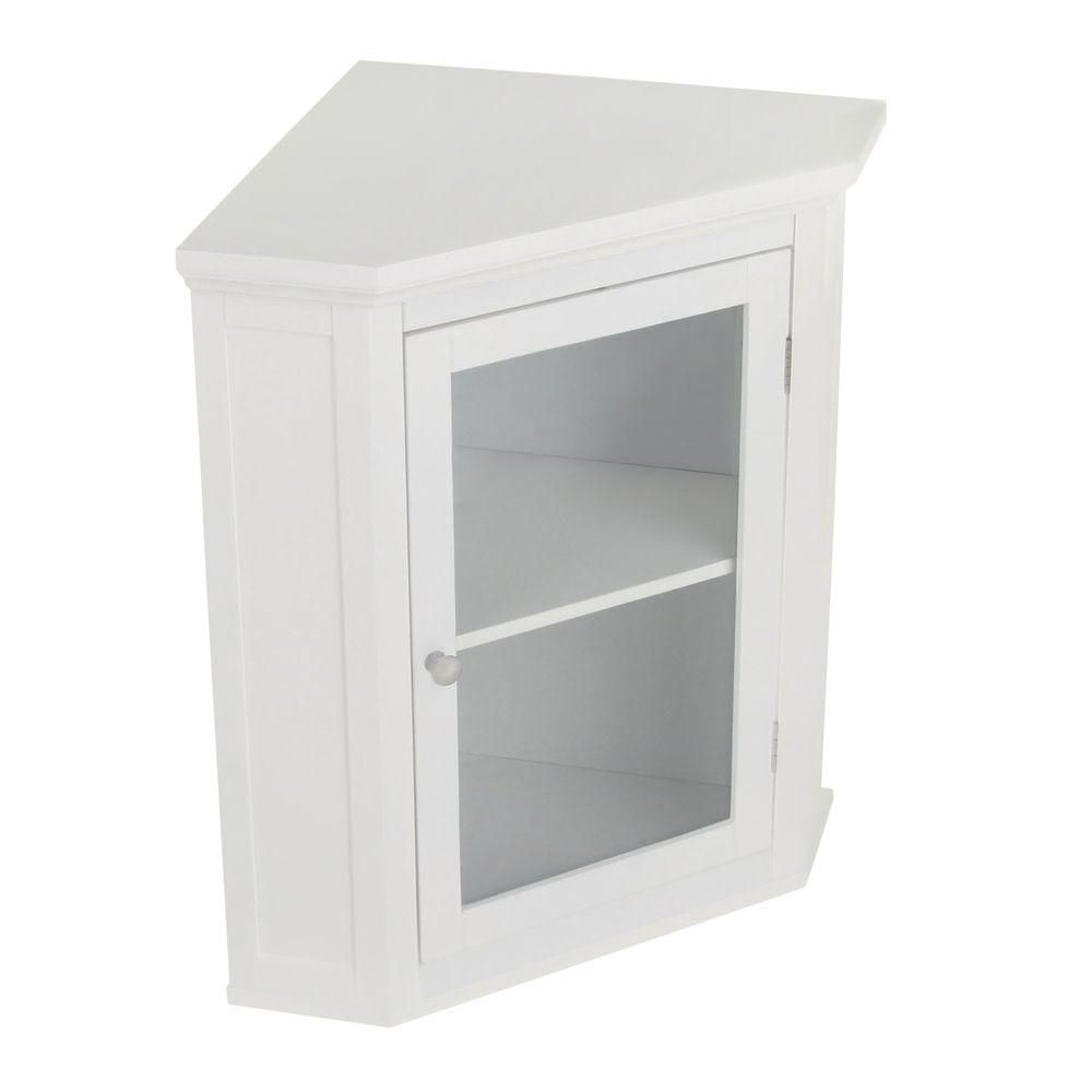 Elegant Home Fashions Wilshire 21 1 4 In W X 23 3 4 In H X 14 1 4 In D Corner Bathroom Storage Wall Cabinet In White Hd17084 The Home Depot Bathroom Corner Storage Cabinet Kitchen