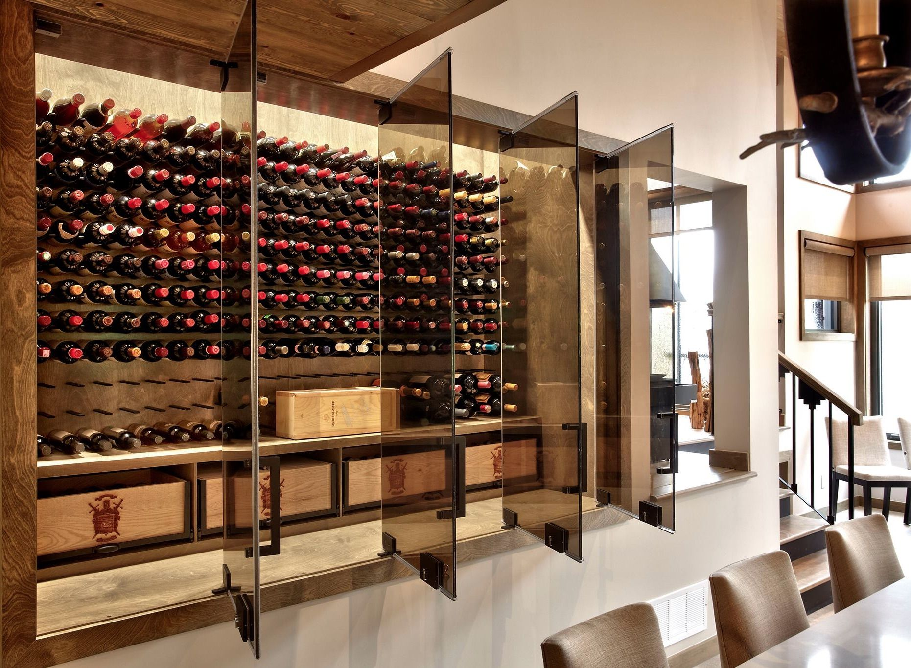 Glass enclosed wine cellars commercial wine displays for Wine room ideas