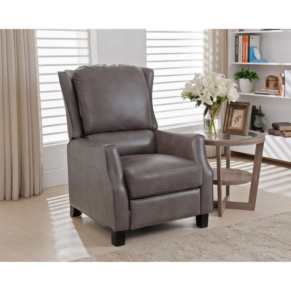 Staten Grey Premium Top Grain Leather Recliner Chair   Free Shipping Today    Overstock.com   17897792   Mobile