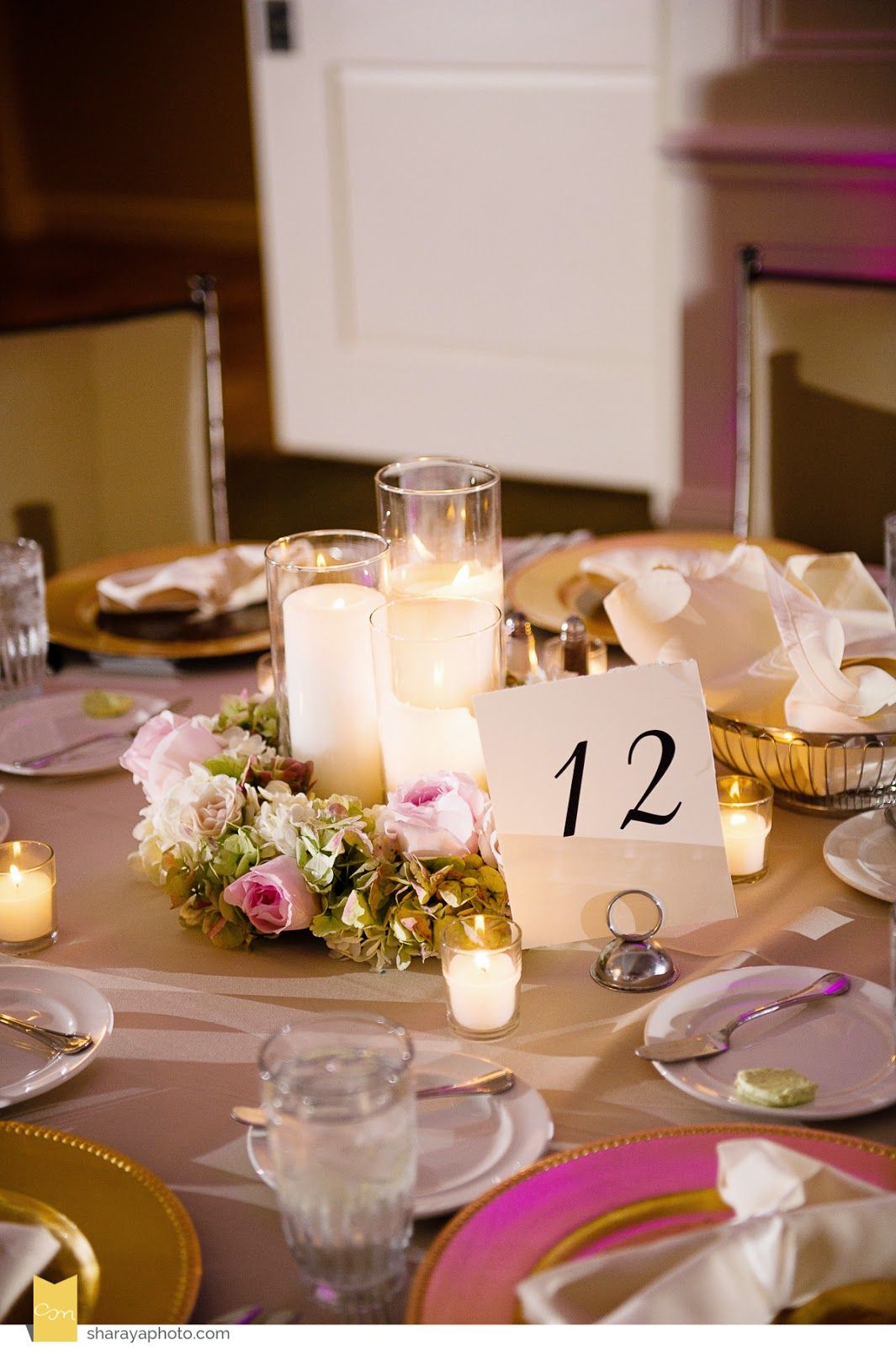Pale pink candlelight centerpiece | Erin Volante Floral