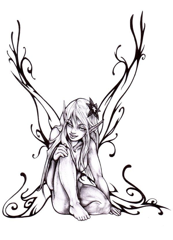 Black Fairy By Pallat On Deviantart Fairy Drawings Fairy Tattoo Designs Fairy Tattoo