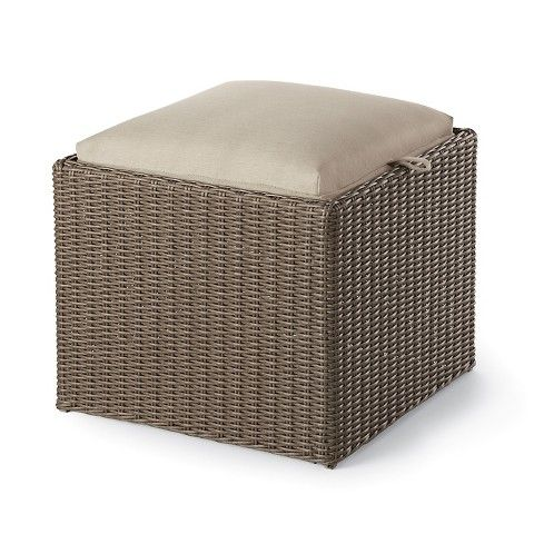 Superb Threshold Heatherstone Wicker Reversible Patio Ottoman Side Machost Co Dining Chair Design Ideas Machostcouk