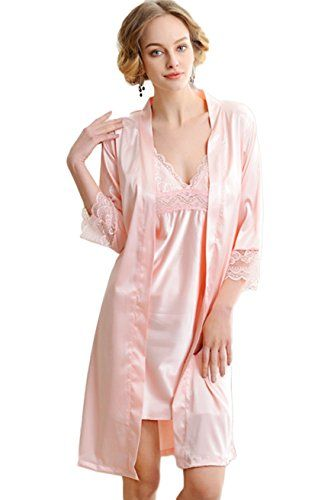 Women Cotton Kimono Satin Silk Lace Up V-Neck 3//4 Sleeve Sleepwear Dress