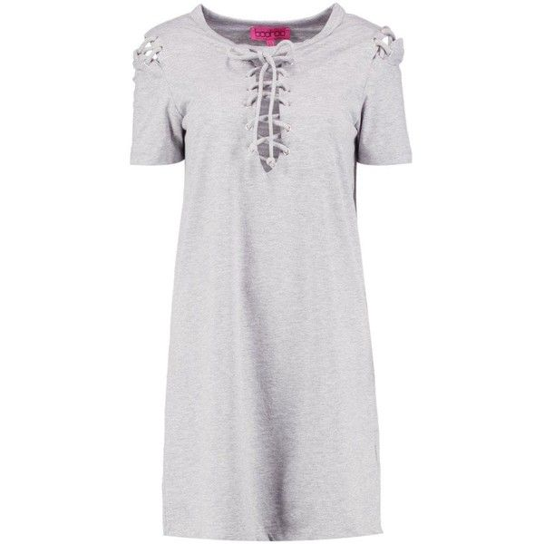1d9df1bc0c63 Boohoo Sally Lace Up Front T-Shirt Dress ($26) ❤ liked on Polyvore  featuring dresses, party dresses, white mini dress, bodycon maxi dress,  white bodycon ...