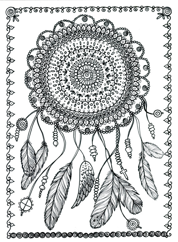 Dream Catcher Poster Coloring Page Colouring Adult Detailed Advanced Printable Zentangle Kleuren Voor Volwassenen Coloriage Pour Adulte Anti Stress