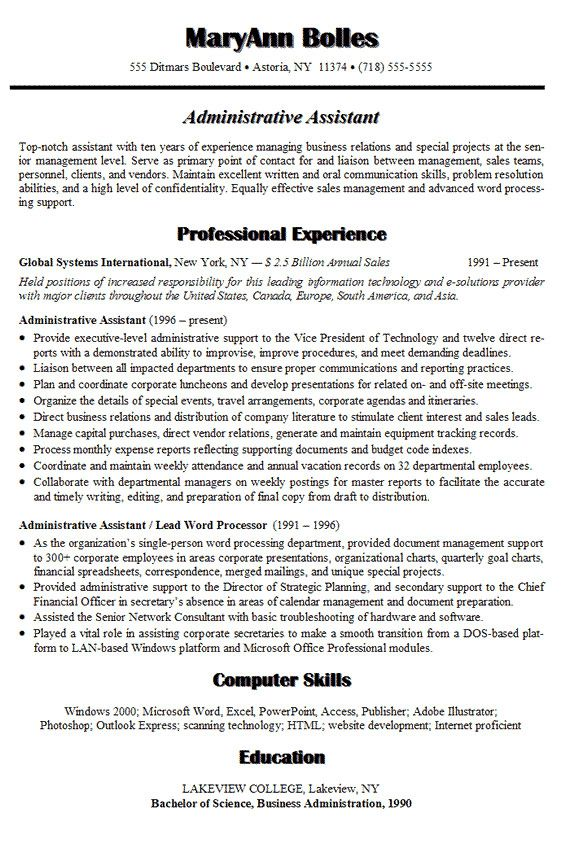 resume cover letter samples administrative ADMINISTRATIVE - sample assistant resume cover letter