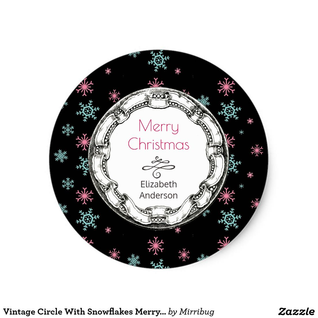 Vintage Circle With Snowflakes Merry Christmas Sticker Christmas Stickers Stickers Classic Christmas