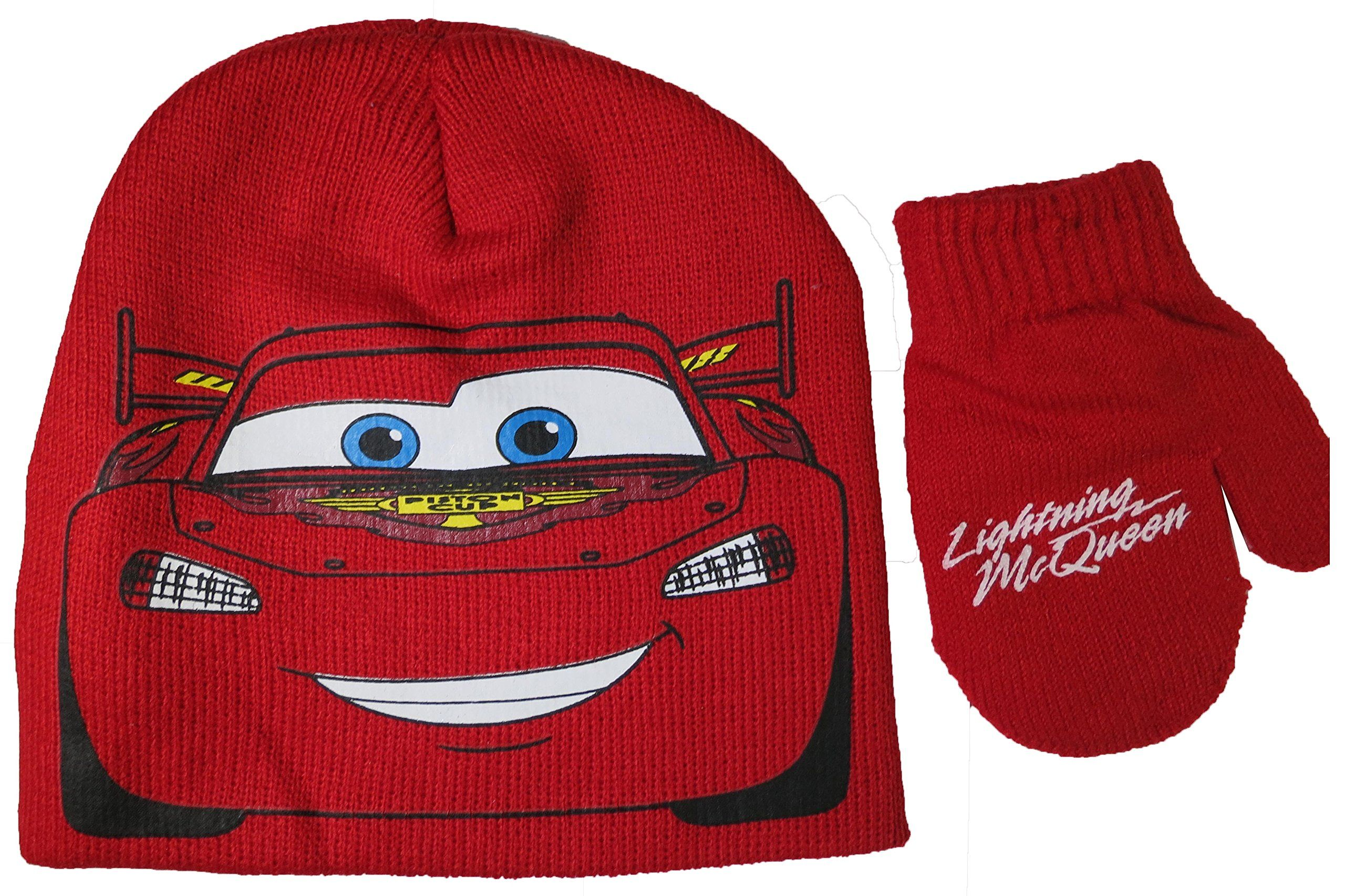 Disney Pixar Cars Lightning McQueen Red Hat And Mitten Set - Toddler ... b1febc5fad16