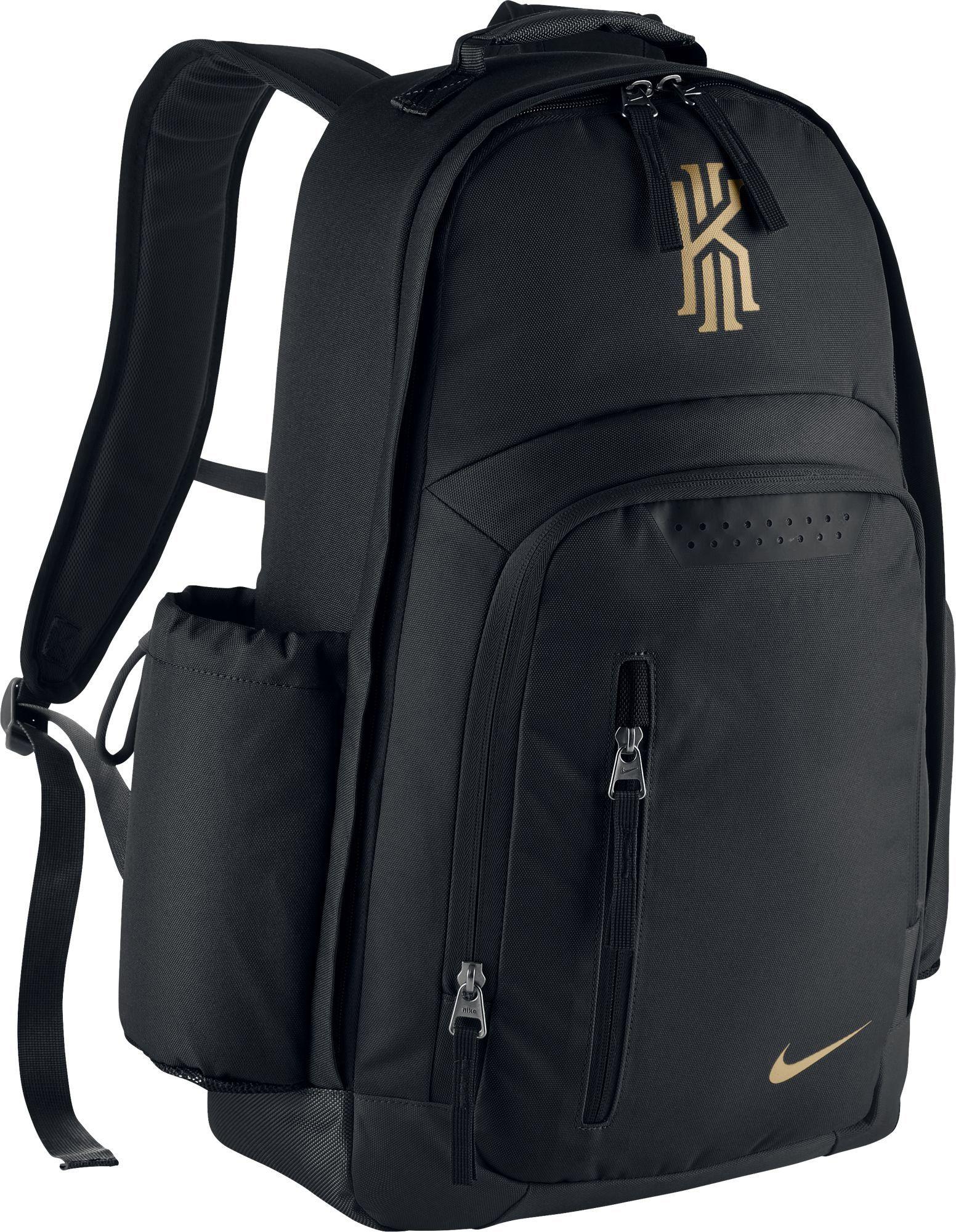 2af7e3739e8f Nike Men s Kyrie Basketball Backpack Black Black-Metallic Gold
