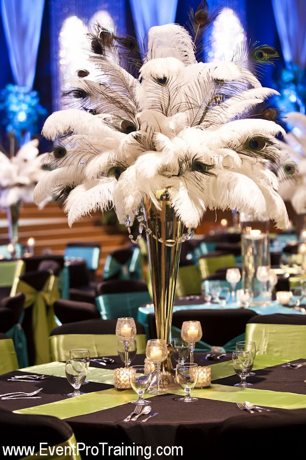 Ostrich Peacock Feather Theme Wedding Ideas By Event Pro Training