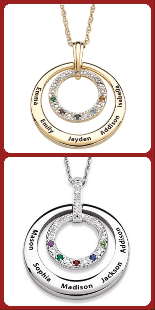 3a5008a821c1f Birthstone and Diamond Necklace with Names - Silver or Gold ...