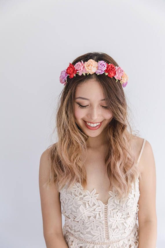 Bright and colourful flower crown    bright pink flower crown ... b4101668e00