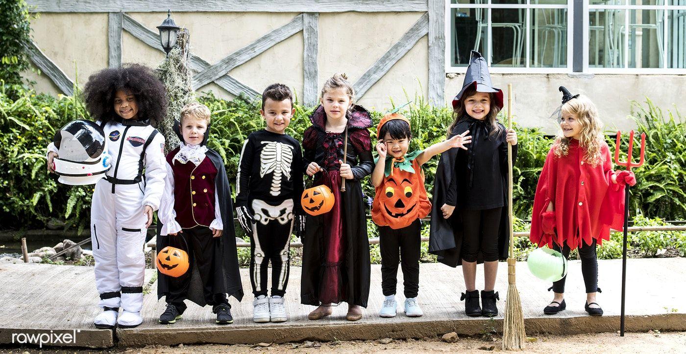 Download premium photo of Diverse kids in Halloween