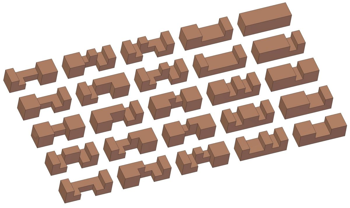 Standard six-piece burr puzzles - Types of rods | Toys