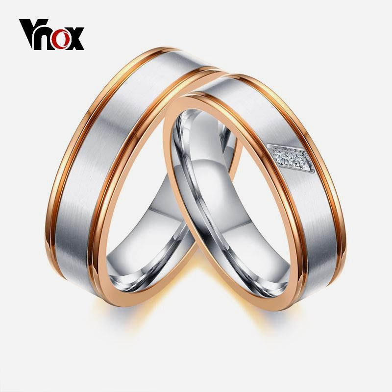 Simple Rose Gold Color Edge Wedding Rings Band For Women Men Cz