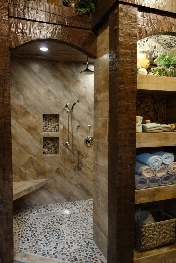 Breaking Barriers Finds Many In Rural Area Want Curbless Showers Rustic Modern Bathroom Rustic Bathroom Designs Rustic Bathroom