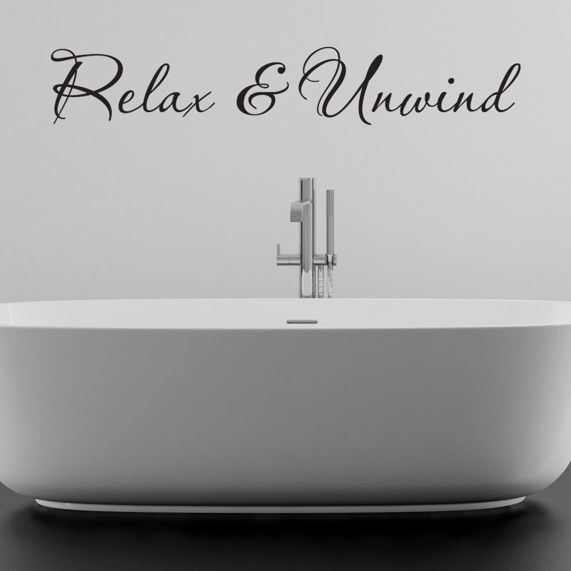 RELAX AND UNWIND BATHROOM WALL STICKER VINYL ART DECAL QUOTES w97 ...
